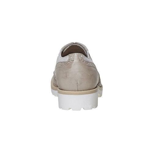 Scarpe basse di pelle con decorazione Brogue bata, beige, 524-2129 - 17