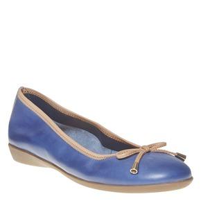 Ballerine da donna in pelle bata, blu, 524-9485 - 13