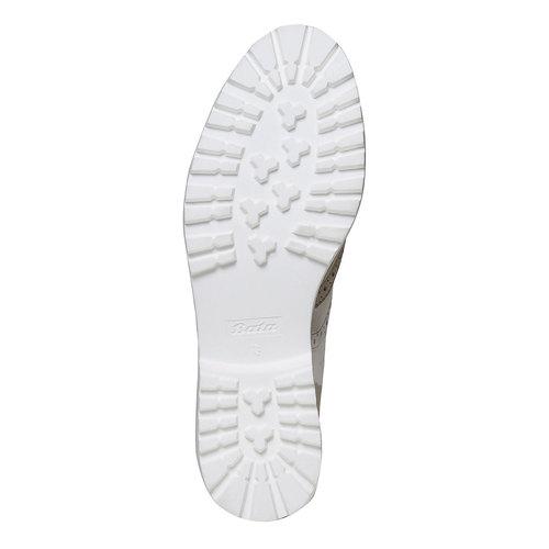 Scarpe basse di pelle con decorazione Brogue bata, beige, 524-2129 - 26