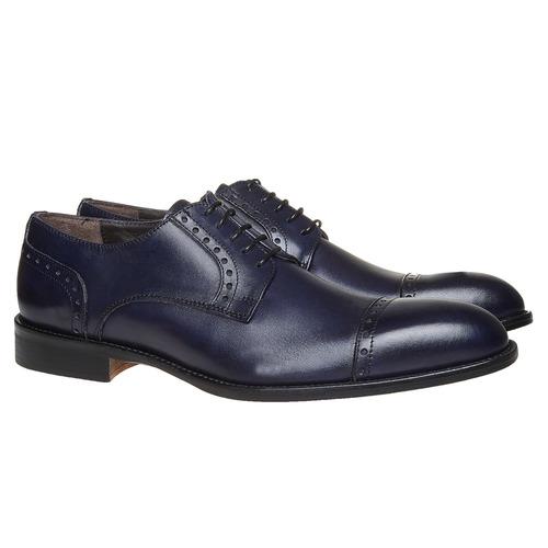 Scarpe basse in pelle di colore blu bata-the-shoemaker, blu, 824-9192 - 26