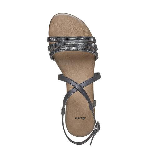 Sandali da donna con strass bata, nero, 561-6319 - 19