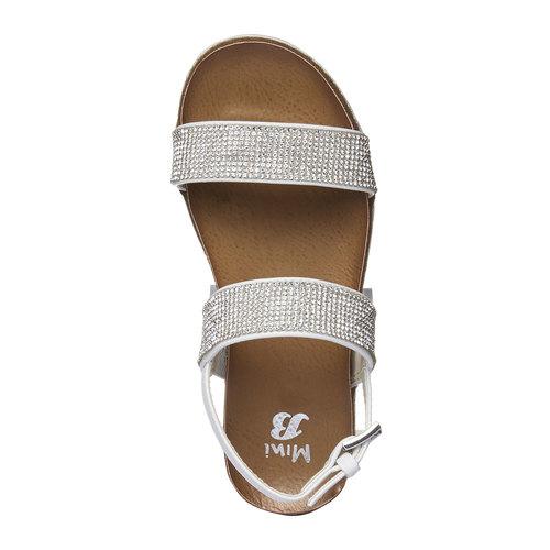Sandali da ragazza con strass mini-b, bianco, 361-1183 - 19