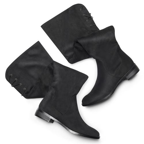 Stivali alti da donna bata, nero, 599-6515 - 19