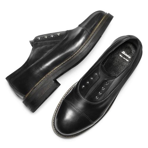 Scarpe basse senza lacci con borchie bata, nero, 514-6248 - 19