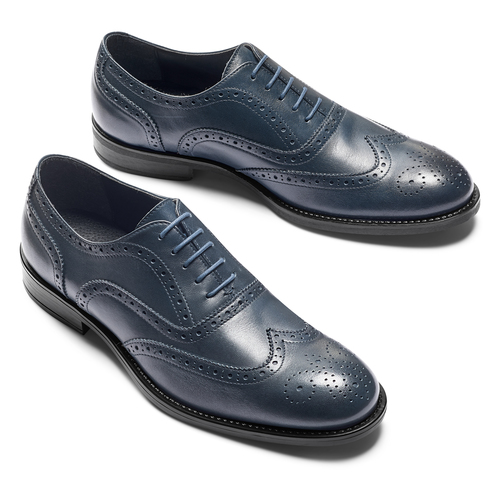 Oxford in pelle bata, blu, 824-9801 - 19