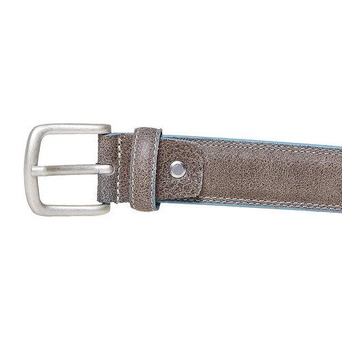 Cintura in pelle con orlo blu bata, grigio, 954-8228 - 26