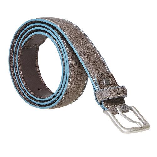 Cintura in pelle con orlo blu bata, grigio, 954-8228 - 13