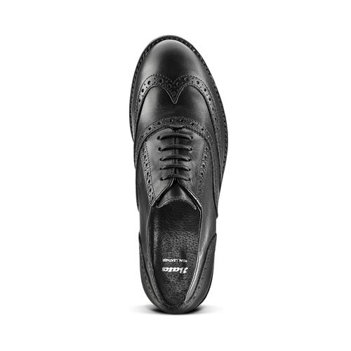Stringata in pelle nera bata, nero, 524-6135 - 15