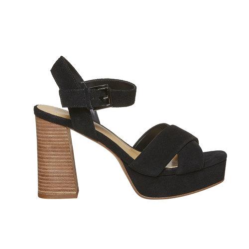 Sandali con tacco e plateau insolia, nero, 763-6502 - 15