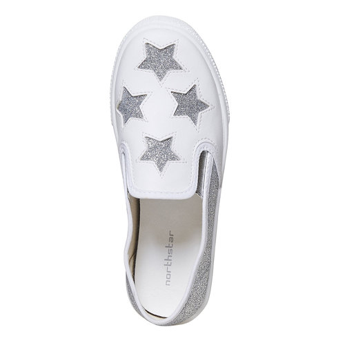 Slip-on da bambina con glitter north-star, bianco, 324-1274 - 19