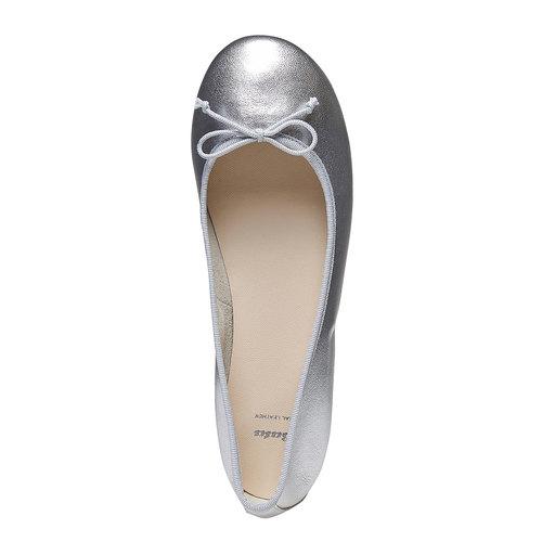 Ballerine da donna in pelle bata, argento, 524-1144 - 19