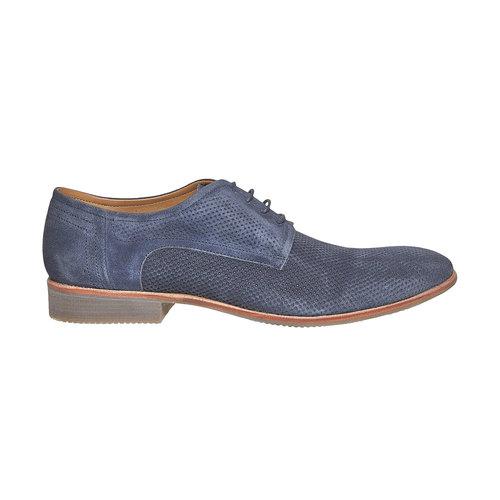 Scarpe basse da uomo in pelle con perforazioni bata, blu, 823-9564 - 15