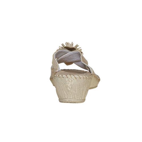 Pantofole da donna con tacco a zeppa, beige, 674-3121 - 17
