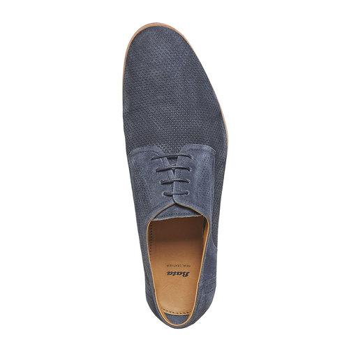 Scarpe basse da uomo in pelle con perforazioni bata, blu, 823-9564 - 19