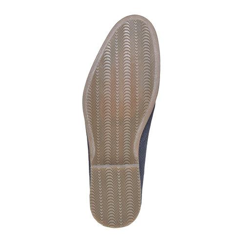 Scarpe basse da uomo in pelle con perforazioni bata, blu, 823-9564 - 26