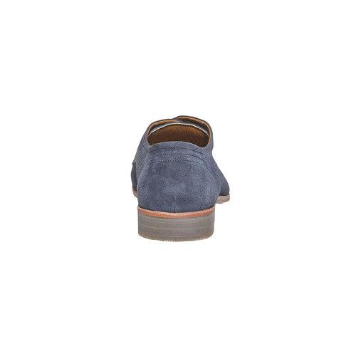 Scarpe basse da uomo in pelle con perforazioni bata, blu, 823-9564 - 17