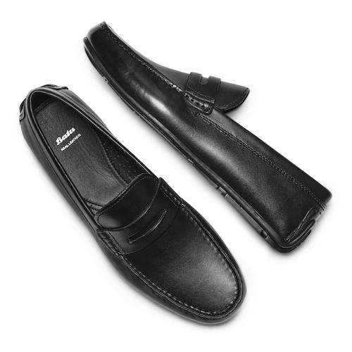 Mocassini in pelle bata, nero, 854-6178 - 26