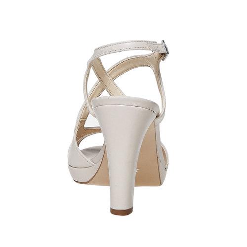 Sandali di pelle con tacco bata, beige, 764-8587 - 17