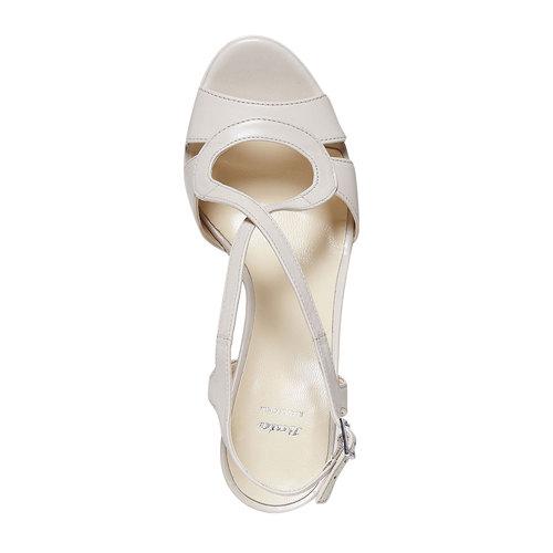 Sandali di pelle con tacco bata, beige, 764-8587 - 19