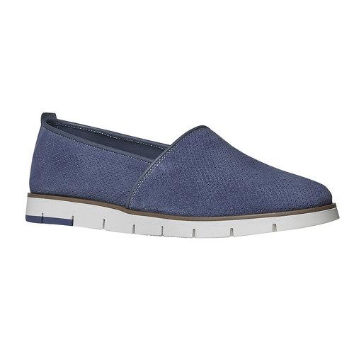 Slip-on in pelle da donna con trafori flexible, blu, 513-9200 - 13
