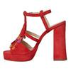 Sandali in pelle da donna con frange bata, rosso, 763-5583 - 26