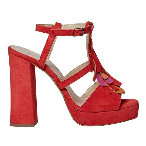 Sandali in pelle da donna con frange bata, rosso, 763-5583 - 15