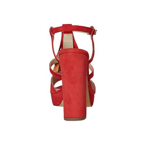 Sandali in pelle da donna con frange bata, rosso, 763-5583 - 17