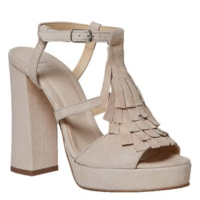 Sandali di pelle con tacco stabile bata, beige, 763-8583 - 13