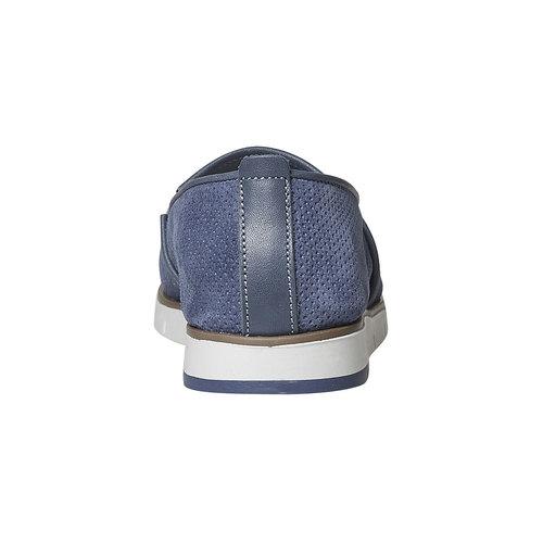 Slip-on in pelle da donna con trafori flexible, blu, 513-9200 - 17