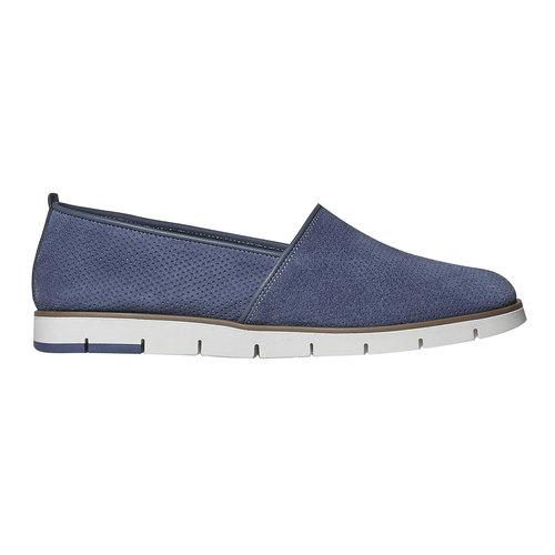 Slip-on in pelle da donna con trafori flexible, blu, 513-9200 - 15
