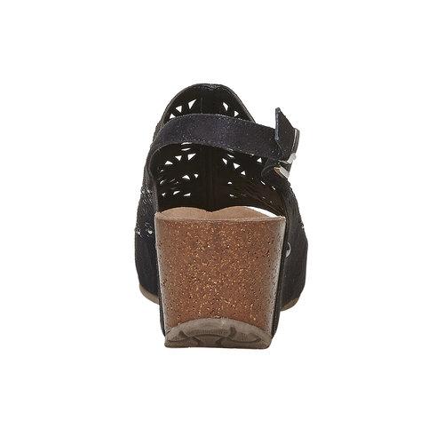 Sandali neri con perforazioni bata, nero, 669-6248 - 17