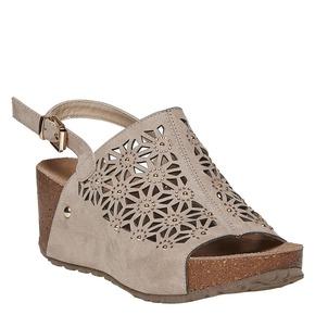 Sandali da donna con plateau bata, beige, 669-2248 - 13