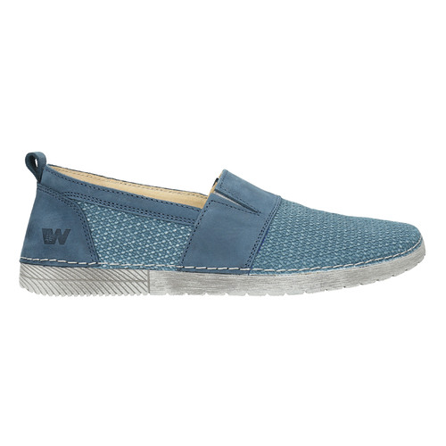 Slip-on in pelle blu weinbrenner, blu, 513-9263 - 15
