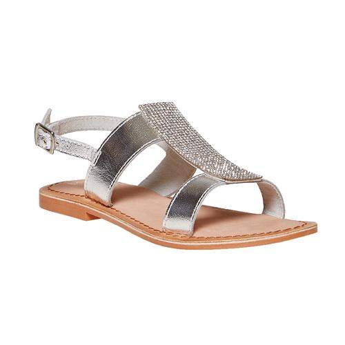 Sandali in pelle con strass mini-b, grigio, 364-2208 - 13