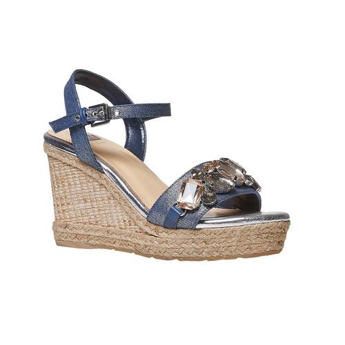 Sandali da donna con applicazioni di strass bata, blu, 769-9575 - 13