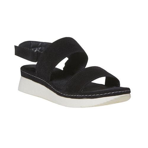 Sandali in pelle da donna bata, nero, 563-6448 - 13