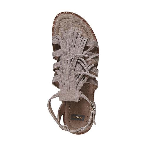 Sandali in pelle con frange bata, beige, 563-2442 - 19