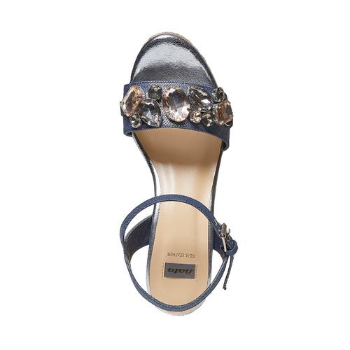 Sandali da donna con applicazioni di strass bata, blu, 769-9575 - 19