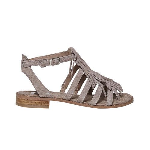 Sandali in pelle con frange bata, beige, 563-2442 - 15