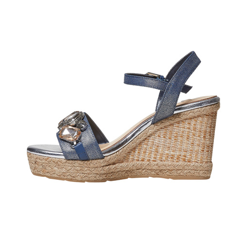 Sandali da donna con applicazioni di strass bata, blu, 769-9575 - 26