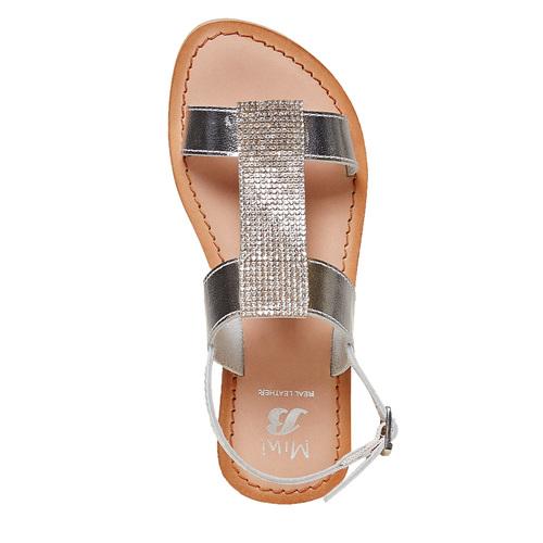 Sandali in pelle con strass mini-b, grigio, 364-2208 - 19