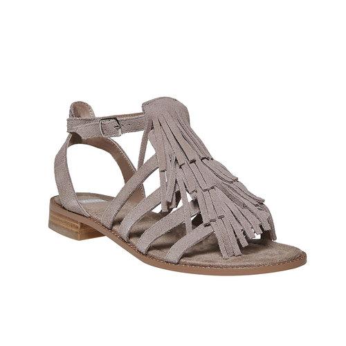 Sandali in pelle con frange bata, beige, 563-2442 - 13