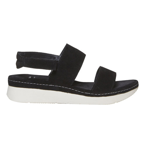 Sandali in pelle da donna bata, nero, 563-6448 - 15