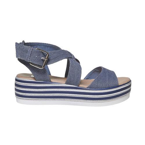 Sandali blu con flatform a strisce bata, blu, 669-9242 - 15