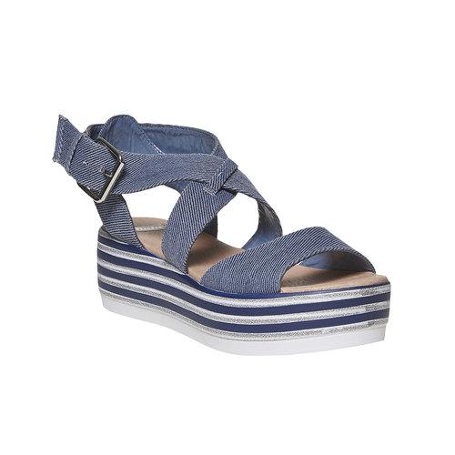 Sandali blu con flatform a strisce bata, blu, 669-9242 - 13