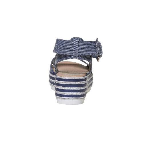 Sandali blu con flatform a strisce bata, blu, 669-9242 - 17