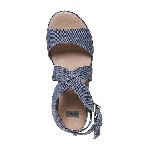 Sandali blu con flatform a strisce bata, blu, 669-9242 - 19