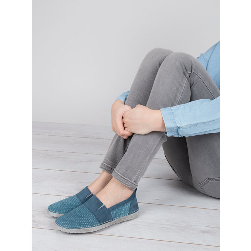 Slip-on in pelle blu weinbrenner, blu, 513-9263 - 18