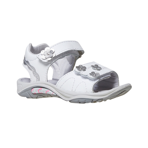 Sandali in pelle da bambina, bianco, 264-1198 - 13