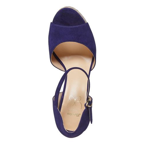 Sandali da donna con plateau naturale insolia, blu, 769-9645 - 19